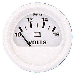"GAUGE BOAT AUTO VOLTMETER 2/"" 10-16V DC DRESS WHITE SERIES FARIA 13120"