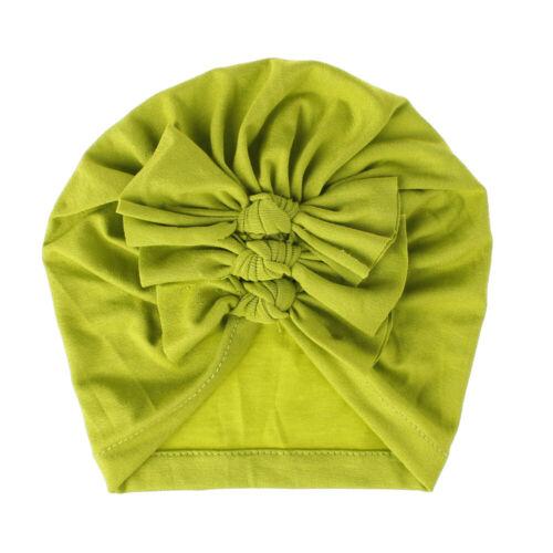 Toddler Baby Boy Girl Turban Bow Hairband Head Wrap Solid Beanie Hat Headband US