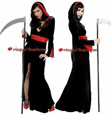Lady Death Vampire Priestess Elvira Witch Fancy Dress Costume - 10 12 14 16 18