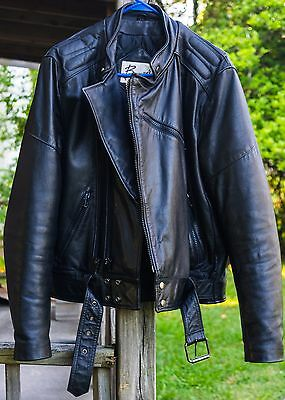 Berman's Black Leather Motorcycle Jacket Size 42 Great Condition Cafe Racer