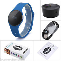 Smart Bracelet Pedometer Watch Bluetooth Sleep Fitness Monitor Android Ios Blue