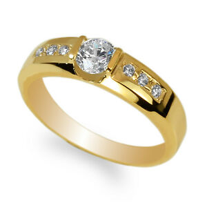 JamesJenny-Men-039-s-Yellow-Gold-Plated-Round-CZ-Fancy-Band-Ring-Size-8-12