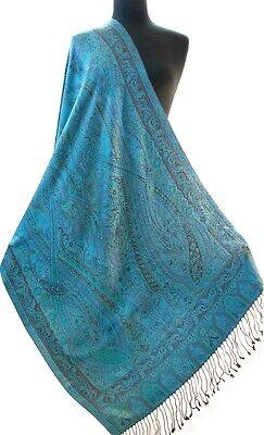 """Shades of Blue Royal Blue Turquoise Reversible Paisley Jamavar Silk Shawl 77x29/"""""""