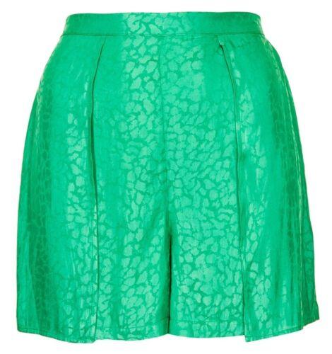 Ex Topshop Petite Green Animal Print Jacquard Shorts Hotpants Size 6 8 10 12 14
