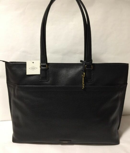 Nwt Fossil Julia Black Leather Carry All Handbag Pers Tote Work Bag Large