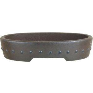 Bonsaischale-15x11-5x3-5cm-Handarbeit-Antik-Rotbraun-Oval-Unglasiert