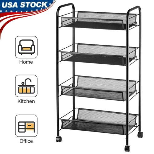 4 Tier Rolling Utility Cart Storage Bins Mesh Basket Shelf Home Office Organizer