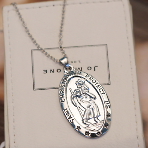 Saint-St-Christopher-Medal-Protect-Us-Oval-Silver-Plated-Pendant-Necklace