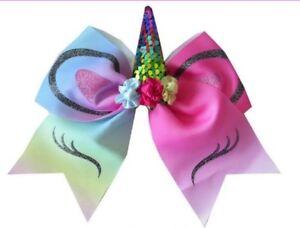 "7 BLESSING Good Girl Hair Accessories 7/"" Cheer Leader Bow Unicorn Elastic"