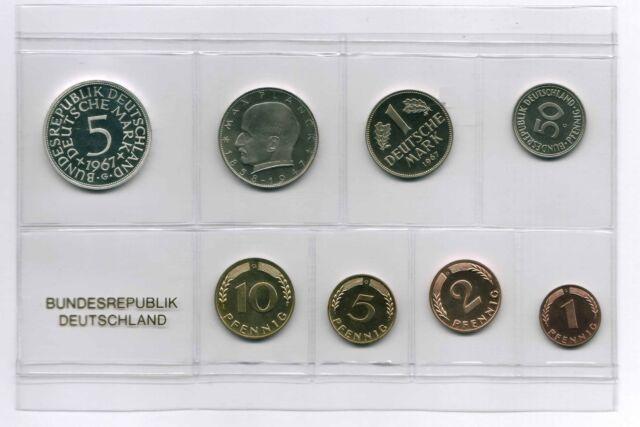 1Pf. bis 5 DM 1967 G  / BRD / Kurssatz Polierte Platte Auflage nur 3600 Stück PP