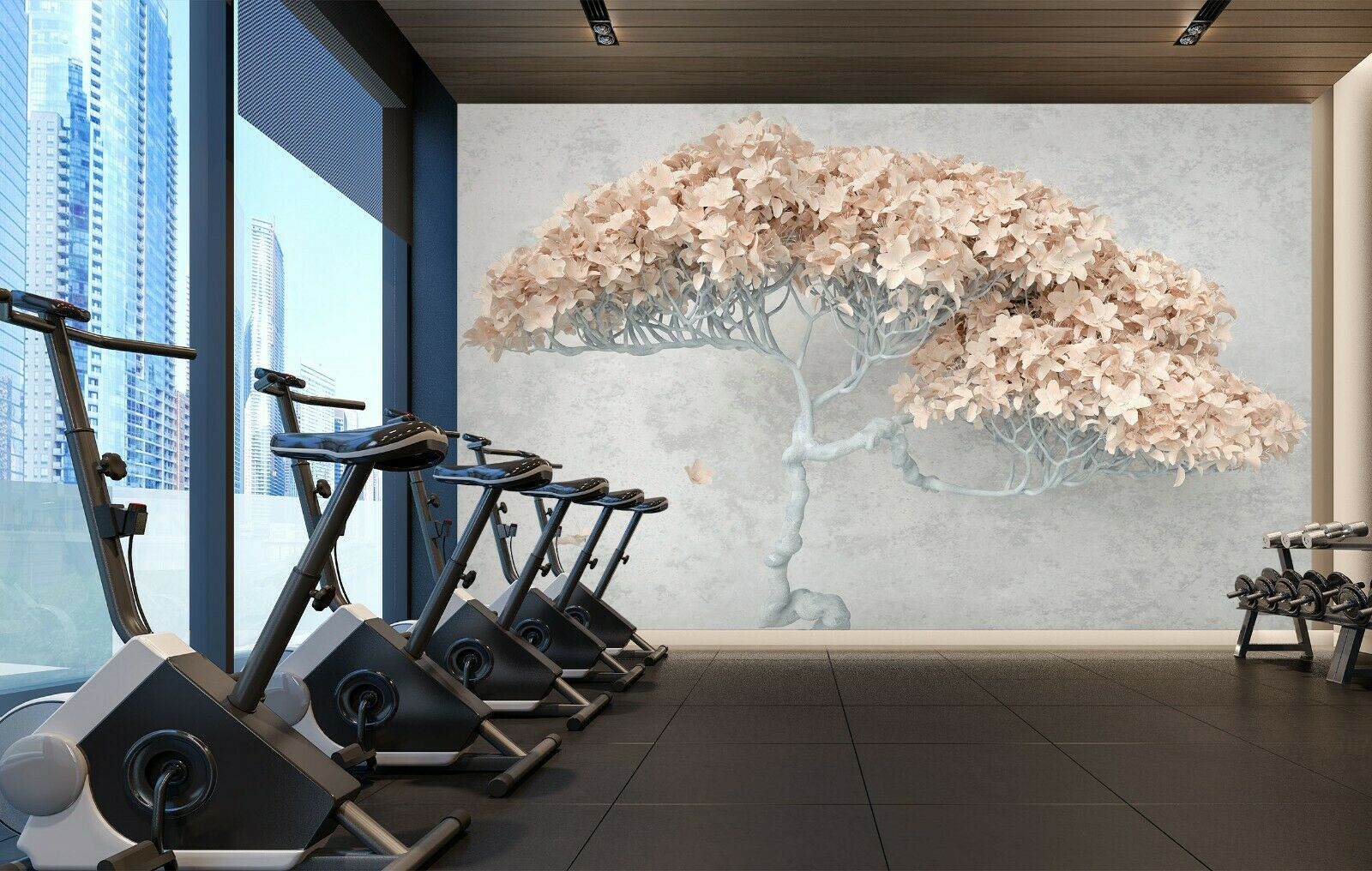 3D Art Flower Tree N201 Business Wallpaper Wall Mural Self-adhesive Commerce Amy