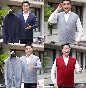 Mens-Cashmere-Knitted-Vest-Woolen-Sweater-Sleeveless-Tank-Top-Waistcoat-Jumper