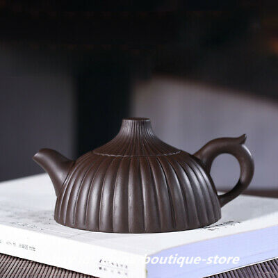 Chinese Yixing Zisha Pottery 200cc Purple Clay Teapot Handmade Stripe Pot 筋囊壶