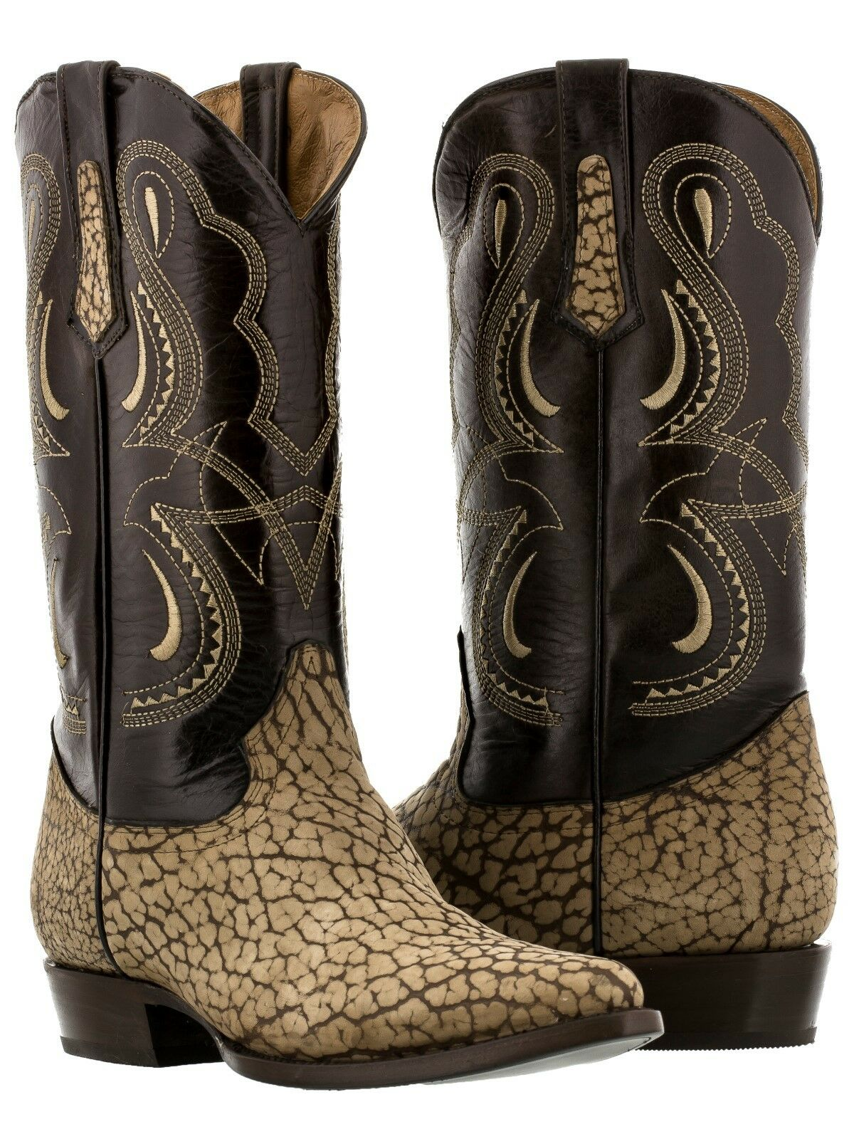 Mens beige sand bull bison buffalo neck leather western cowboy boots exotic new
