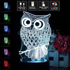 3D Owl Illusion LED Desk Table Lamp 7 Color Change Night Light Christmas Gift