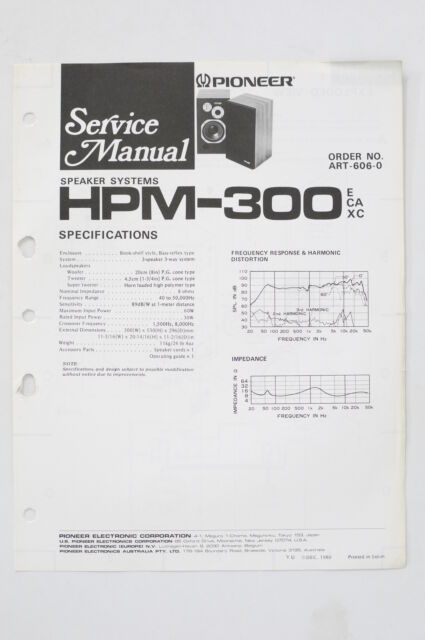 pioneer hpm300 original speaker system service manual/guide
