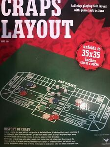Craps-Table-Felt-New-In-Box-35-x35-Game-Cards-Casino-Night