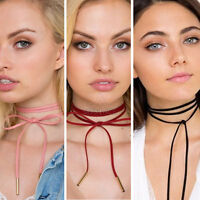 Sexy Retro Imitation Leather Choker Bohemia Neck Tie Cord Necklace Jewelry Chain