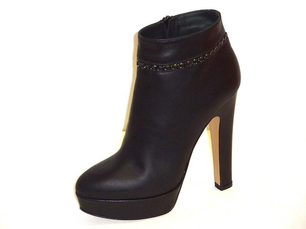 Grandes zapatos con descuento STIVALI DONNA TRONCHETTO PELLE NERO PLATEAU TACCHI ALTI ALLA MODA n. 35