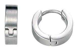 Fred Bennett 4mm Brushed Stainless Steel Huggie Style Mens Hoop Earring [single]