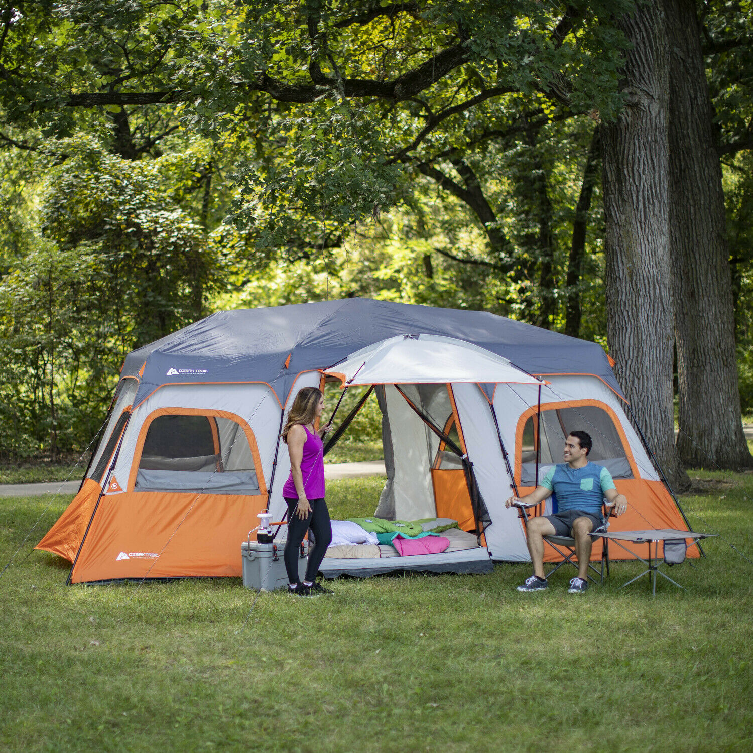 12 Person Instant Cabin Tent W Integrated Led Light e Shade Porch, 18 X 10