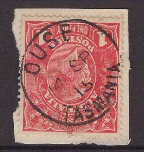 Tasmania-nice-1915-OUSE-postmark-type-1-on-1d-KGV-piece