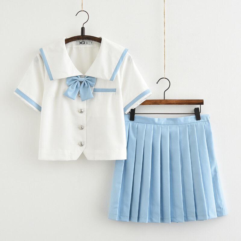 Sweet Girl Sailor Blouse Tops + bluee Pleated Skirt Lolita Uniforms Preppy Style
