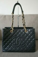 Sale! EUC Authentic Chanel GST Caviar Grand Shopping Tote Black Gold HW