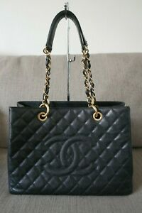 Sale-EUC-Authentic-Chanel-GST-Caviar-Grand-Shopping-Tote-Black-Gold-HW
