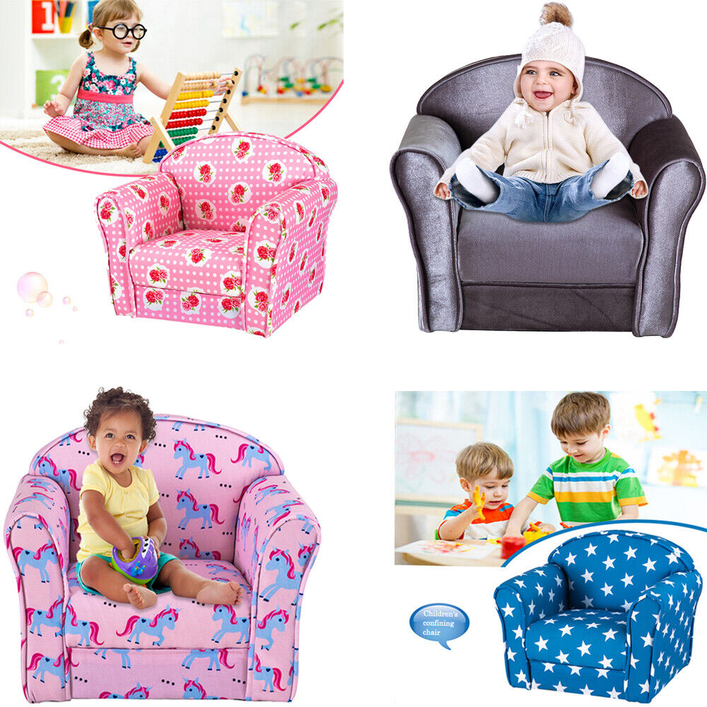 Kids Children's Chair Armchair Baby Sofa Fabric Upholstered Seat Play room