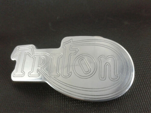 TRITON TRIUMPH NORTON SHAPED BELT BUCKLE POLISHED ALUMINIUM CNC ENGRAVED