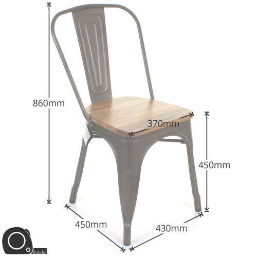 SET OF 4 TOLIX STYLE METAL BISTRO CHAIRS CAFE KITCHEN DINING RUSTIC VINTAGE