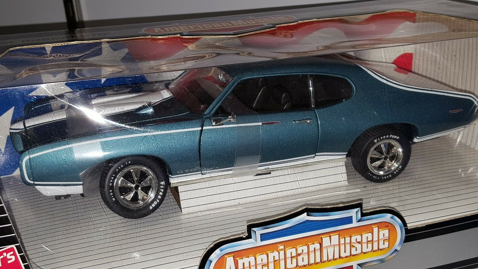 1 18 Ertl American Muscle 1969 Pontiac Royal Bobcat Gto blu con biancao Od