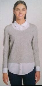 927783b65 67-A Tommy Hilfiger Women s Layered-Look Sweater with collared Shirt ...