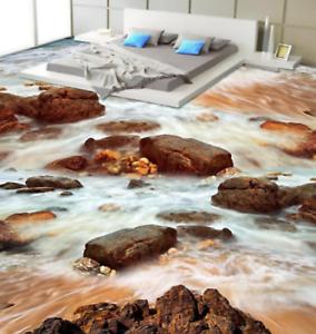3D piedras de río Grande Papel Pintado Mural Parojo Impresión de suelo 4 5D AJ Wallpaper Reino Unido Limón