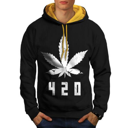 Weed Casual Jumper Wellcoda White Cannabis Leaf Mens Contrast Hoodie