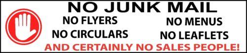 No Junk Mail tracts menus Flyers Sales Personnes Letterbox Autocollant Signe d/'avertissement