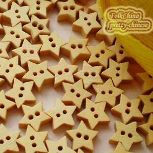 Star-11mm-Wood-Buttons-Sewing-Scrapbooking-Craft-NCB009