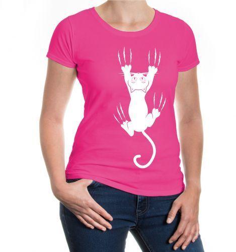 Damen Kurzarm Girlie T-Shirt Cat-Scratch Katze Katzenkrallen Haustier