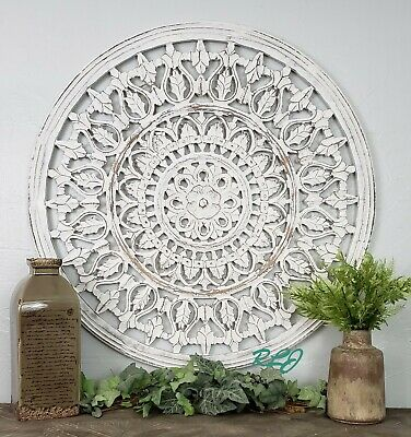 Decorative Rustic Whitewashed Round, Round White Wood Wall Decor