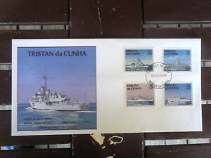 TRISTAN-DA-CUHN-OFFICIAL-FIRST-DAY-COVER-ROYAL-NAVAL-VESSELS-SET-4-STAMPS-1994