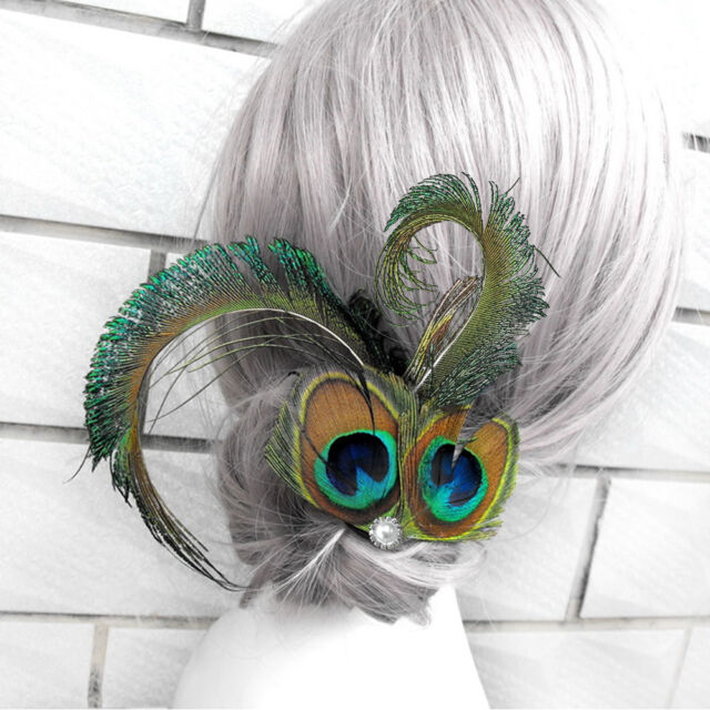 Peacock Feather Fascinator Hair Clip Headband Party Headpiece Bridal  Headdress for sale online  9d9a16ed1d4