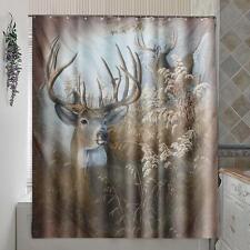 Deer Polyester Fabric Shower Curtain Panel Sheer Home Bathroom Decor W/ 12  Hooks