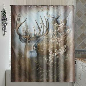Image Is Loading Deer Polyester Fabric Shower Curtain Panel Sheer Home