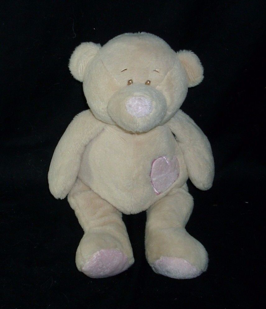 12  BABY GANZ TAN BROWN TEDDY PINK HEART BEAR RATTLE STUFFED ANIMAL PLUSH TOY
