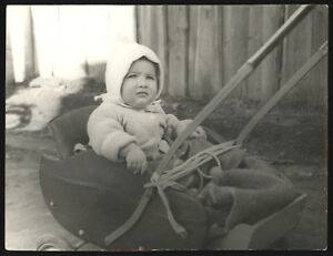 1950s Pretty Little Kid In Baby Carriage Old Fashion Soviet Ussr