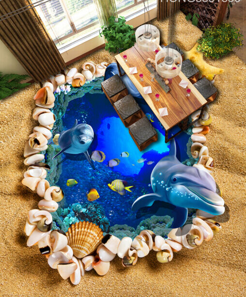 Mar delfín del mundo 3 3D Piso Impresión De Parojo De Papel Pintado Mural Calcomanía 5D AJ Wallpaper