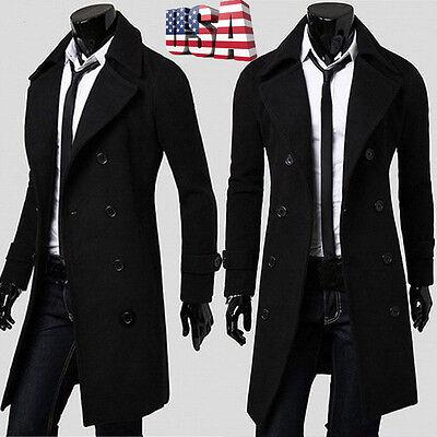 Men Slim Parka Coat Peacoat Winter Long Jacket Outwear Double Breasted Overcoat