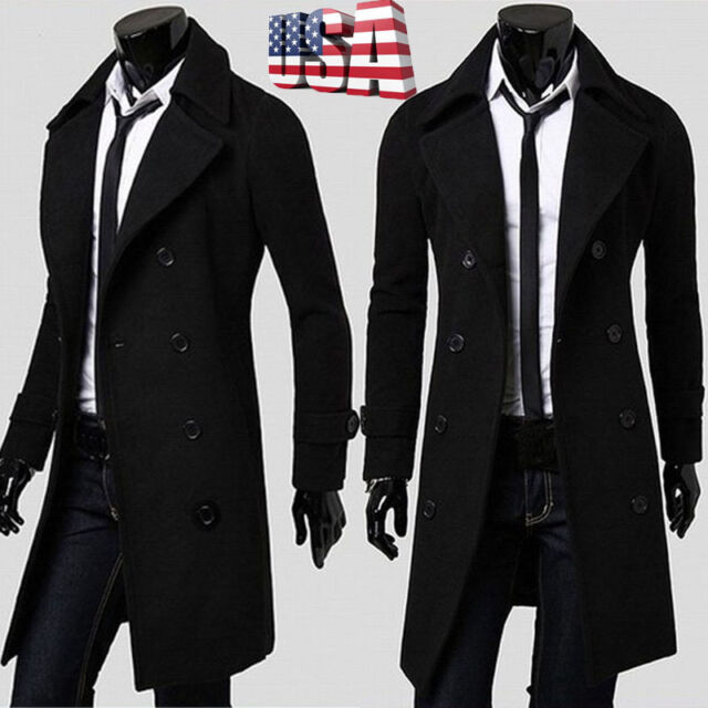 Men Slim Parka Coat Peacoat Winter Long Jacket Outwear Double Breasted Overcoat