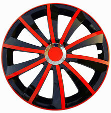 "4x15"" Wheel trims fit DACIA SANDERO LOGAN MCV full set -15'' black/red"